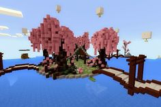 Would'nt it be nice if theres a Cherry Blossom park in Minecraft so i did one yayayayay because i li Minecraft Pe, Construction Minecraft, Minecraft Kingdom, Cute Minecraft Houses, Amazing Minecraft, Minecraft Blueprints, Minecraft Crafts, Minecraft Designs, Minecraft Lantern