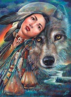 Native American art, American Indian art by noted painter Gloria West. Native American Wolf, Native American Pictures, Native American Artwork, Native American Beauty, Indian Pictures, American Indian Art, American Indians, Indian Wolf, Native Indian