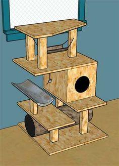 DIY cat tower ¡GENIAL!!!!Justi por ahora tiene la caja con abertura...ya veré cuando sigo agregando el resto de la construcción
