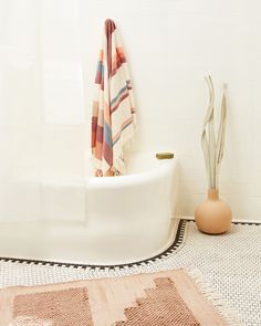 The Steps Mat is inspired by architect Luis Barragan. The handwoven cotton mats have a looped weave, creating a cozy texture for stepping and standing - perfect for use as a bath mat or in front of the kitchen sink. Bathroom Styling, Bathroom Storage, Earthy Bathroom, Bathroom Cabinets, Bathroom Organization, Modern Boho Bathroom, Minimal Bathroom, Scandinavian Bathroom, Brown Bathroom
