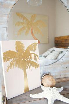 Beach House decor   Gold Foil Palm Tree Art on Canvas 11x14 Tree B by GoldCoastCanvas