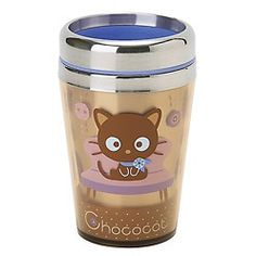 Stainless steel mug with Chococat sporting a flowered scarf