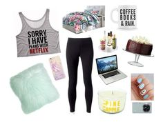"""Lazy Day"" by creativeabby on Polyvore featuring Jockey, Pillow Decor, Modern Alchemy, PBteen, InterDesign, LSA International, Forever 21 and Samsung"