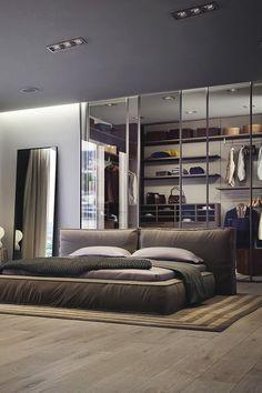 bedroom designs men cool modern bedroom design for men luxury bedroom design nighslee mattress Design Moderne, Deco Design, Design Design, Plan Design, Closets Pequenos, Bachelor Bedroom, Bachelor Pads, Home Design, Interior Design