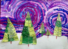 D art, hanging art, christmas collage, christmas tree art, christmas art pr Christmas Art Projects, Christmas Tree Art, Winter Art Projects, Christmas Activities, Christmas Collage, Green Christmas, Kids Christmas, Christmas Crafts, Art 2nd Grade