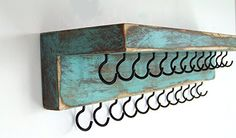 Out Back Craft Shack Handmade Wall Hanging Jewelry Organizer w/shelf and 25 hooks – Rustic Holder for Necklace, Earrings, Ring, Bracelet – White Diy Jewelry Holder, Jewelry Hanger, Diy Necklace And Bracelet Holder, Necklace Hanger, Necklace Storage, Simple Necklace, Jewelry Box, Jewelry Wall, Hanging Jewelry Organizer