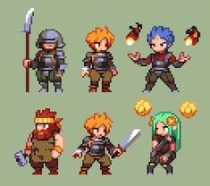 "Sohei no Twitter: ""Did some characters to check proportions. I don't know. Should I keep them, should I not. #pixelart #characters #platformer https://t.co/KMPkdhMd0r"" ."