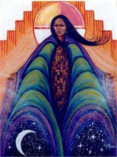 Iyatiku's themes are Earth, the harvest, providence, health and weather.  Her symbols are corn, beans, seeds and soil. Iyatiku is the Pueblo corn and underworld Goddess who protects not only future crops but the future in general by safeguarding children. During the early months of the year, Iyatiku extends arms of compassion to embrace us with nurturing support, just as the earth nurtures seeds.