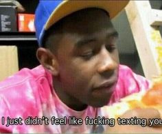 "Tyler, the Creator ""I didn't feel like fucking texting you"" meme (From his IAMBOYCRAZY.COM interview) Stupid Funny Memes, Funny Relatable Memes, Haha Funny, Response Memes, Current Mood Meme, Tyler The Creator, Mood Pics, Cartoon Memes, Wholesome Memes"