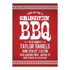 Red Rustic Retro Vintage Graduation Party BBQ Invites