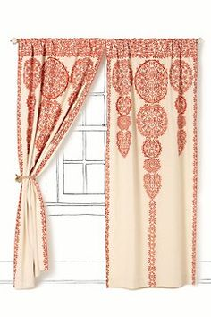 i wonder could i do something similar to these 168 dollar Anthro curtains with drop cloth panels and appliqued doilies.