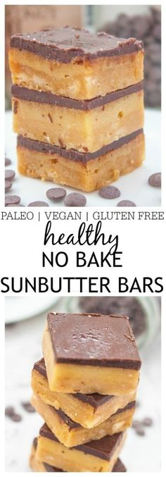 Healthy No Bake SunButter Bars which are a quick and easy dessert or snack which takes no time and can be completely allergen friendly! {vegan, gluten free, paleo recipe}- thebigmansworld.com