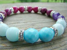 Stretch Bracelet, Gemstone, Glass, Clear Rhinestone, Beaded Jewelry, Stacking Bracelet, Boho Chic, Gemstone Jewelry by BeJeweledByCandi on Etsy, $35.00