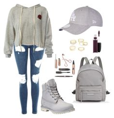 """""""Kayleigh M. Woodley"""" by belibreezy on Polyvore featuring mode, Topshop, Sans Souci, Timberland, Longchamp, New Era, MAC Cosmetics et Charlotte Russe"""