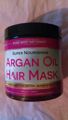 Argan hair mask, new never opened Argan Oil, Coffee Cans, Pure Products, Bottle, Board, Hair, Flask, Strengthen Hair, Jars