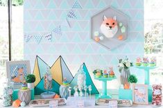 Jaime's Geometric Fox Themed Party – Sweets Birthday Party Decorations, Party Themes, Birthday Ideas, Party Ideas, Geometric Fox, Geometric Decor, Party Sweets, Dessert Table, Best Part Of Me