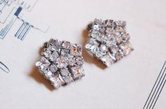 1950s Snowflake Rhinestone Clip on Earrings
