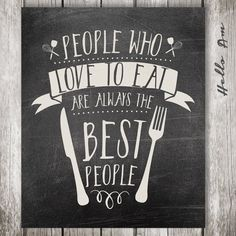 People who love to eat Chalkboard art Kitchen art by HelloAm