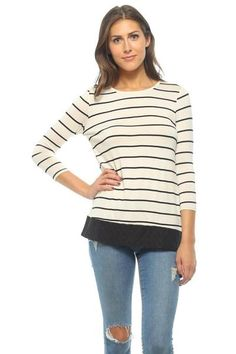 Have You Seen This *****5 Star Review*****???  Ivory Striped Tunic with Black Embroidery Accent & Button Back  Great shirt! Fits true to size and will go perfect with a pair of black leggings!! Delivery was very quick, thank you! I can't wait to order more items.  User Name:Karyn W.  Get Yours Today: