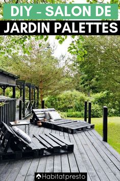 Homebuilt DIY deck chairs of pallets on the terrace. Painted in black so they match the terrace boards. Homebuilt DIY deck chairs of pallets on the terrace. Painted in black so they match the terrace boards. Pallet Garden Furniture, Outdoor Furniture Plans, Pallet Patio, Outdoor Pallet, Rustic Furniture, Furniture Ideas, Modern Furniture, Antique Furniture, Pallet Bench