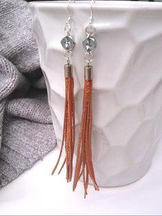 Leather Dangle Earrings. $18.00, via Etsy.