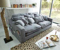 Couch Noelia Grau Blau 240x145 legere Polsterung Kissen