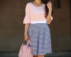 flounce sweater, striped pleated skirt, pink purse, spring outfit, petite fashion blog - click the photo for outfit details!