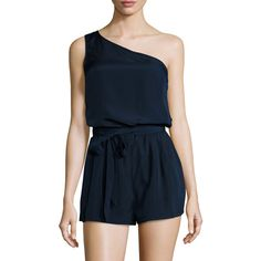 Elorie Women's One Shoulder Romper - Dark Blue/Navy - Size L ($89) ❤ liked on Polyvore featuring jumpsuits, rompers, navy blue rompers, print romper, one shoulder romper, dark blue romper and patterned romper