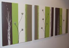 Lime Green Chocolate Brown Cream Poppies Painting by Artsolutely, $269.90