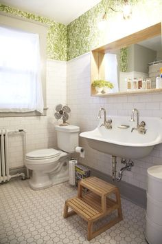 Kitchen Design, Cool Vintage Trough Sink With Wallpaper, Toilet And Double Mixer Taps Also Staircase: Captivating Home Depot Kitchen Rugs Design Ideas