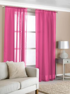 Sweet Pink Bedroom Curtains For Girls Bedroom Accessories : Captivating Pink Bedroom Curtain in Wonderful Bedroom with White Shade Table Lamp and Comfy Sofa also Beige Wall Painting