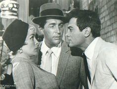 """Janet Leigh, Dean Martin y Tony Curtis en """"¿Quién es esa chica?"""", 1960"""