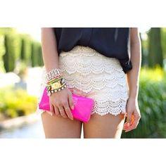 lace shorts fuscia clutch