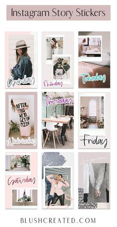 "Add some fun stickers to your Instagram stories with these ""Days of the Week"" Instagram stickers. These are great for branding your Instagram and can help your Instagram aesthetic! 