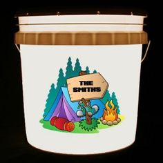 This bucket light features a colorful camping scene and your family name on a wooden sign.    We can customize this bucket light with your own combination of words and/or images.