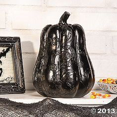 Scrolled details give this pumpkin a refined Halloween look. Place this black beauty among your Halloween decorations to liven up any party or greet t. Halloween Season, Fall Halloween, Halloween Stuff, Halloween Ideas, Halloween Pumpkins, Halloween Decorations, Halloween Office, Black Pumpkin, Puffy Paint