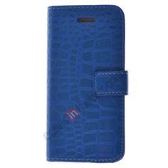 Stylish Crocodile Skin Figure Leather Protective Case For iPhone 5 - Blue US$7.59