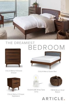 Wake up in the mid-century modern bedroom of your dreams.