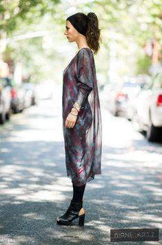 Sheer Silk Tie Dye Blue Purple Maxi Galactic Long Sleeve Dress Cover Up by DianeKatzDesign