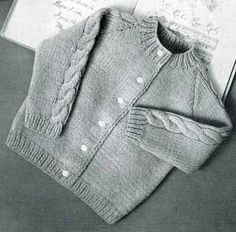 Knitted Raglan Cardigan, sizes 1, 2 & 3 | Knitting Patterns