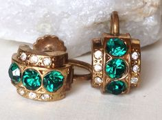 Coro Earrings Gold Tone Emerald Clear by HeyThatsAwesome on Etsy