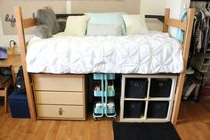 Dorm Room. Storage under bed.