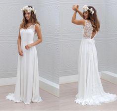 Bohemian romantic wedding dress, beach wedding dress outdoor photo, V-neck wedding dress lace wedding dress
