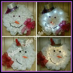 "32-34"" Deco Mesh Snowman-head wreath. Perfect home decoration to live on all winter long.  Decorate your door, window, wall, etc. Comes with battery operated lights and your choice of color for the ribbon. $45 plus $15 for Shipping. #decomesh #wreath #snowman #winter #Christmas #gift #homedeco"