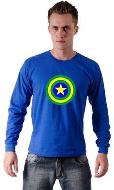 camiseta - capitão américa brasil - Loja de Camisetas|Camisetas Era Digital