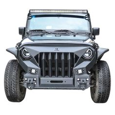 Hunter Stubby Front Bumper and Full-Width Rear Bumper with Winch plate D-Ring for 2007-2017 Jeep Wrangler JK JKU LED Aluminum Light