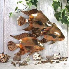 Copper Fish Trio Garden Wall Art Sculpture - update your garden