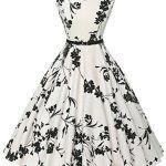 GRACE KARIN Robe de Cocktail Rétro Imprimée Sans Manche 1950s Audrey: Description: Cette robe rétro de cocktail florale à col rond est sans…