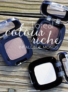 L'Oreal Infallible Colour Riche Mono Eyeshadows, Loreal Mono Shadows, Monos