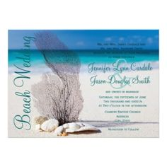 Beach Seashells Destination Wedding Invitations - A beautiful beach scene with coral and seashells on the sand and the ocean in the background. Perfect for a beach wedding or destination wedding. Just add your own wedding details to the invite. Discount Wedding Invitations, Destination Wedding Invitations, Unique Wedding Invitations, Wedding Rsvp, Wedding Invitation Templates, Destination Weddings, Invites, Invitation Ideas, Hippie Weddings